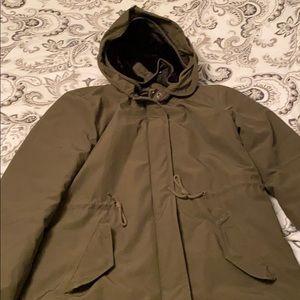 Green penfields coat with black fur hood m medium